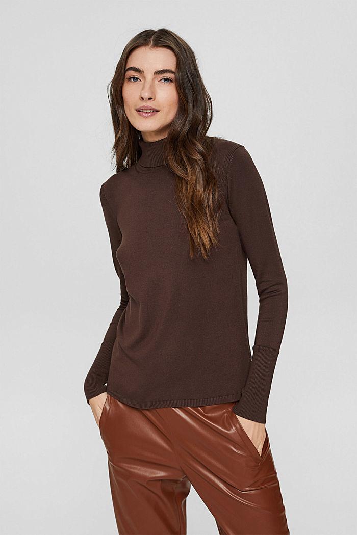 Basic Rollkragen-Pullover, LENZING™ ECOVERO™, DARK BROWN, detail image number 0