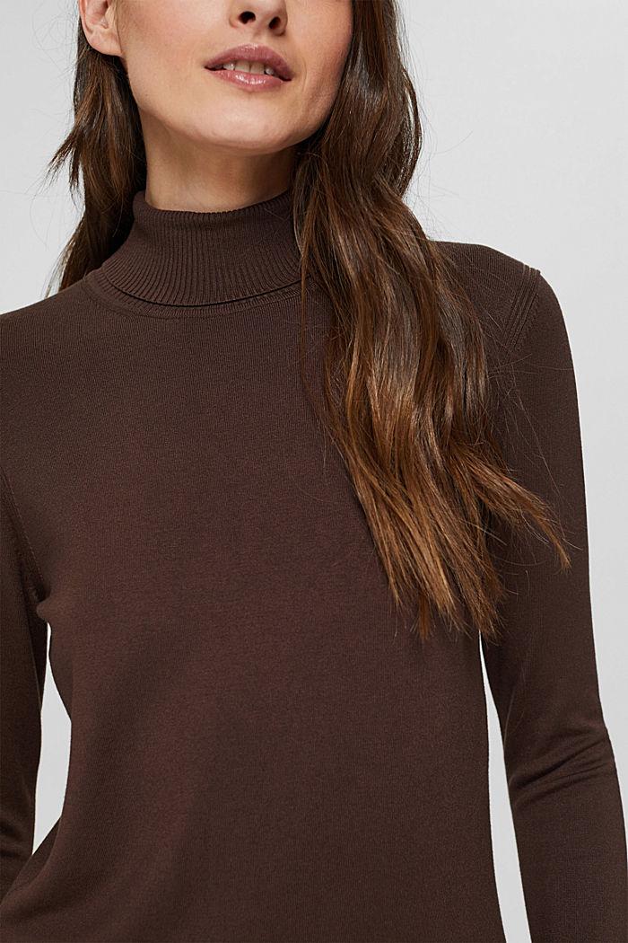 Basic Rollkragen-Pullover, LENZING™ ECOVERO™, DARK BROWN, detail image number 2