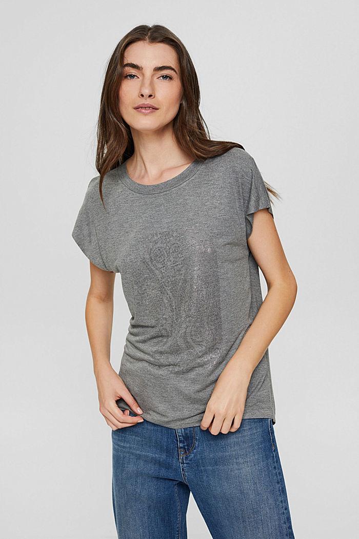 T-Shirt mit Glanz-Print, LENZING™ ECOVERO™, GUNMETAL, detail image number 0