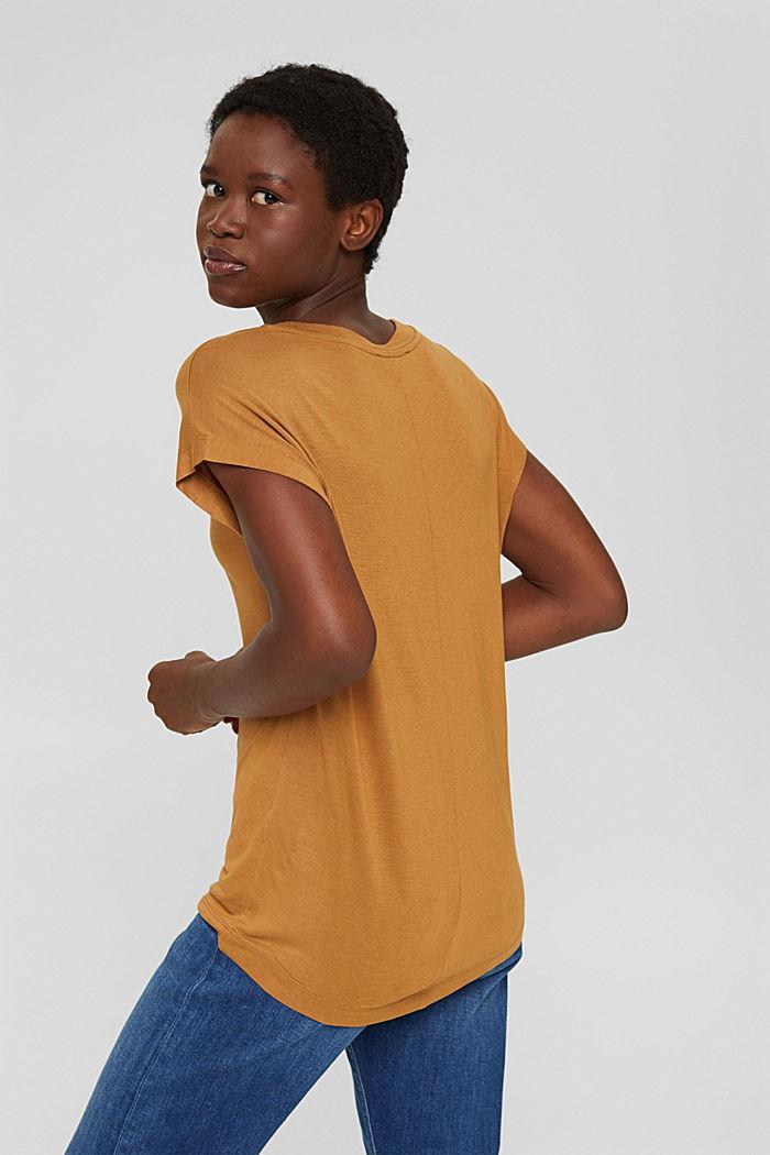 T-Shirt mit Glanz-Print, LENZING™ ECOVERO™, CARAMEL, detail image number 3