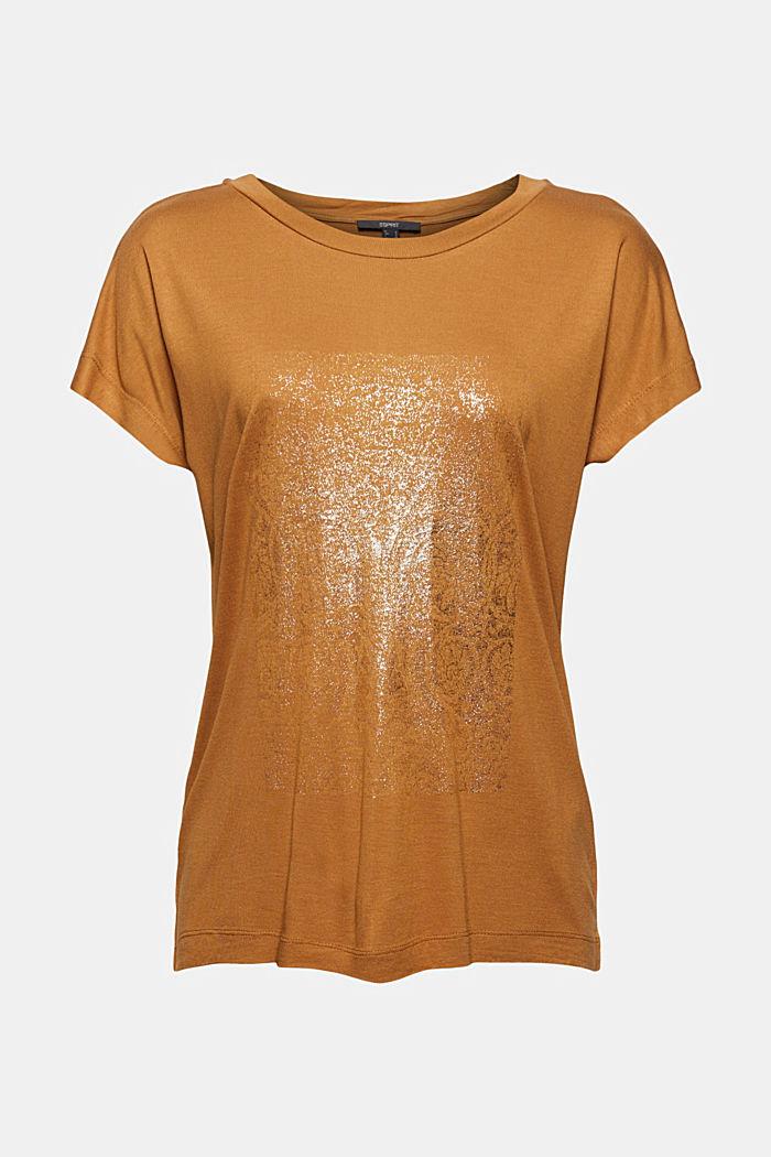 T-Shirt mit Glanz-Print, LENZING™ ECOVERO™, CARAMEL, detail image number 6