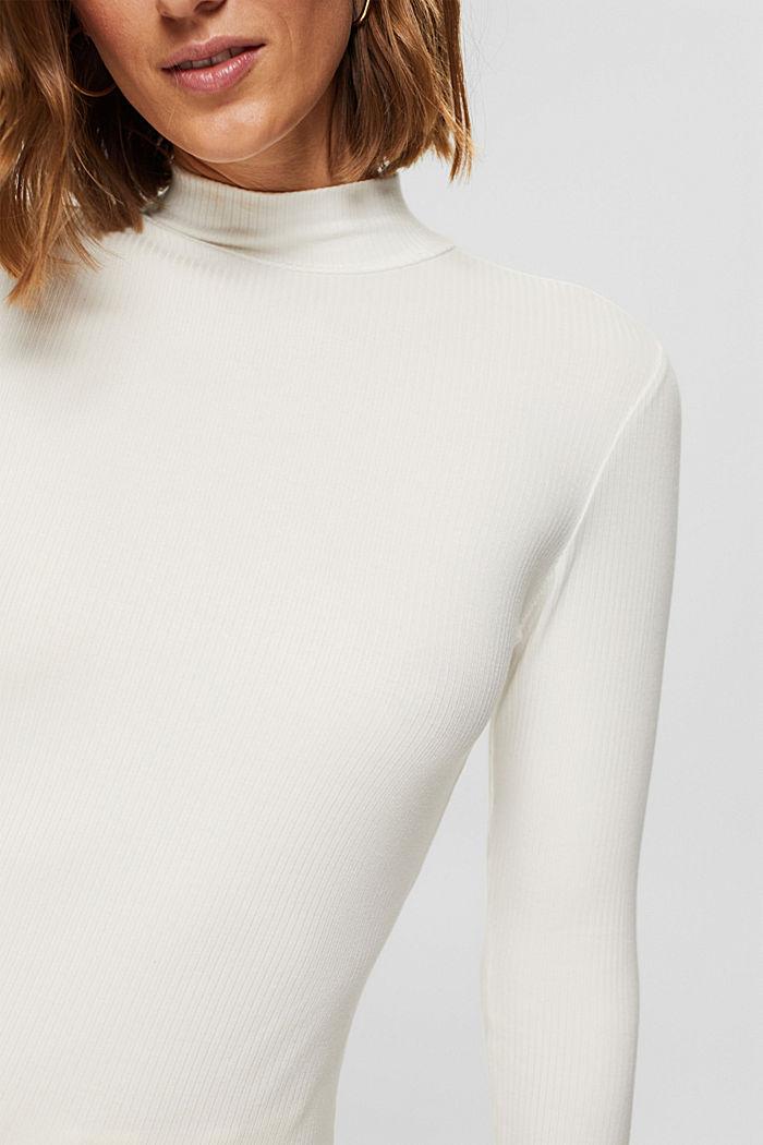 Van lyocell (TENCEL™). Longsleeve met opstaande kraag, OFF WHITE, detail image number 2