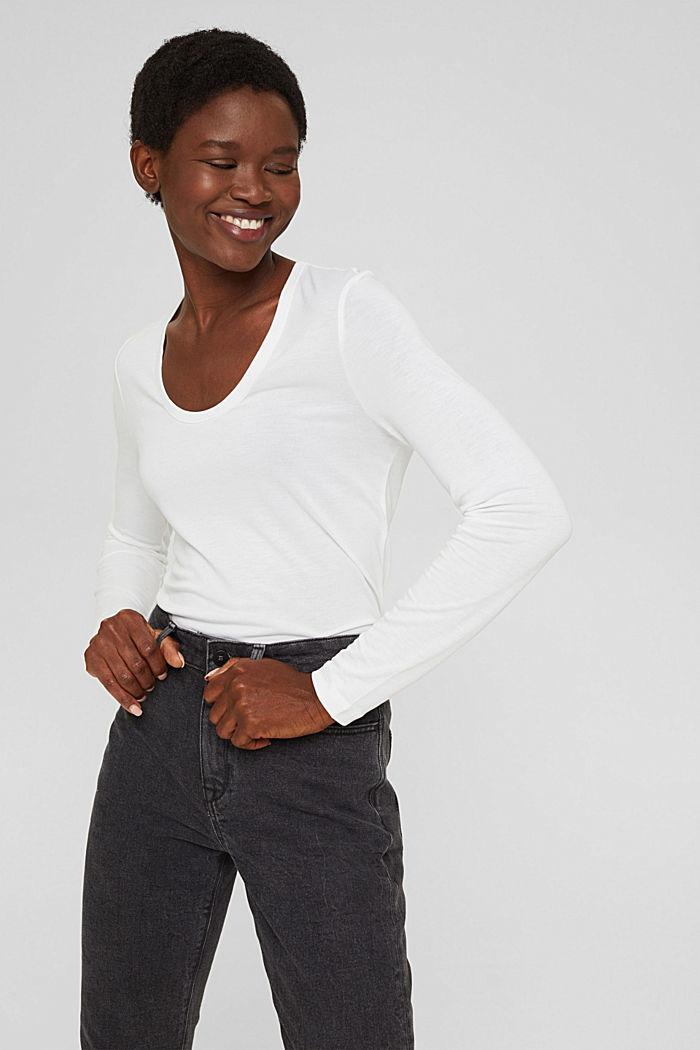 T-shirt à manches longues en TENCEL™ x REFIBRA™, WHITE, detail image number 0