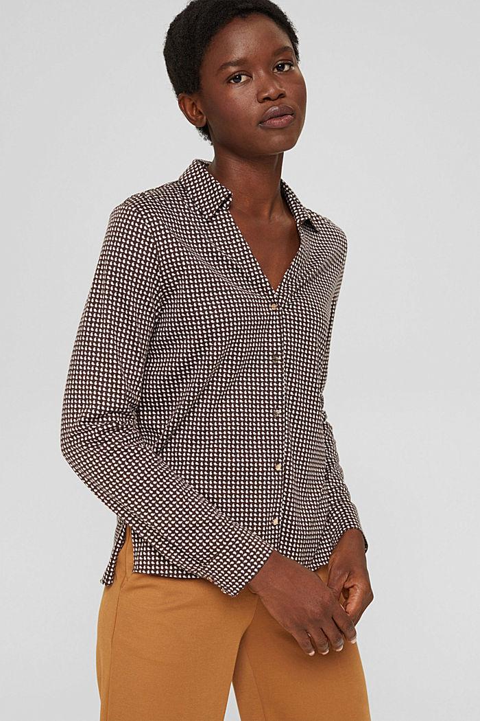 Mit TENCEL™: Shirt im Hemdblusenstil, BROWN, detail image number 0