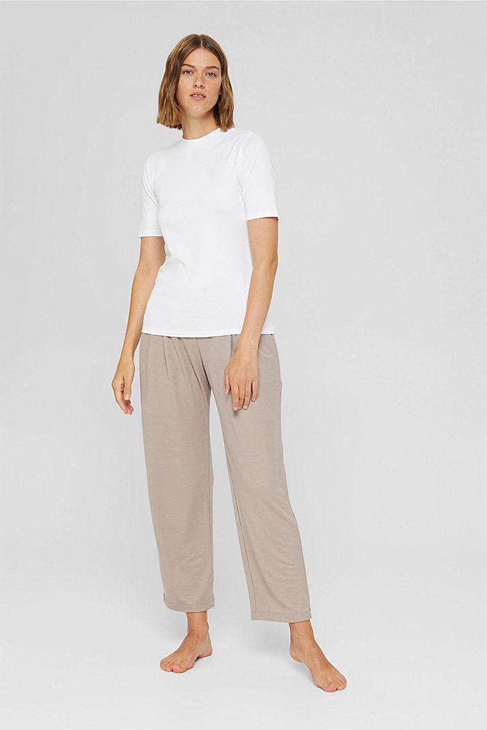 TENCEL™-Mix: cropped Pyjama-Hose, LIGHT TAUPE, detail image number 1