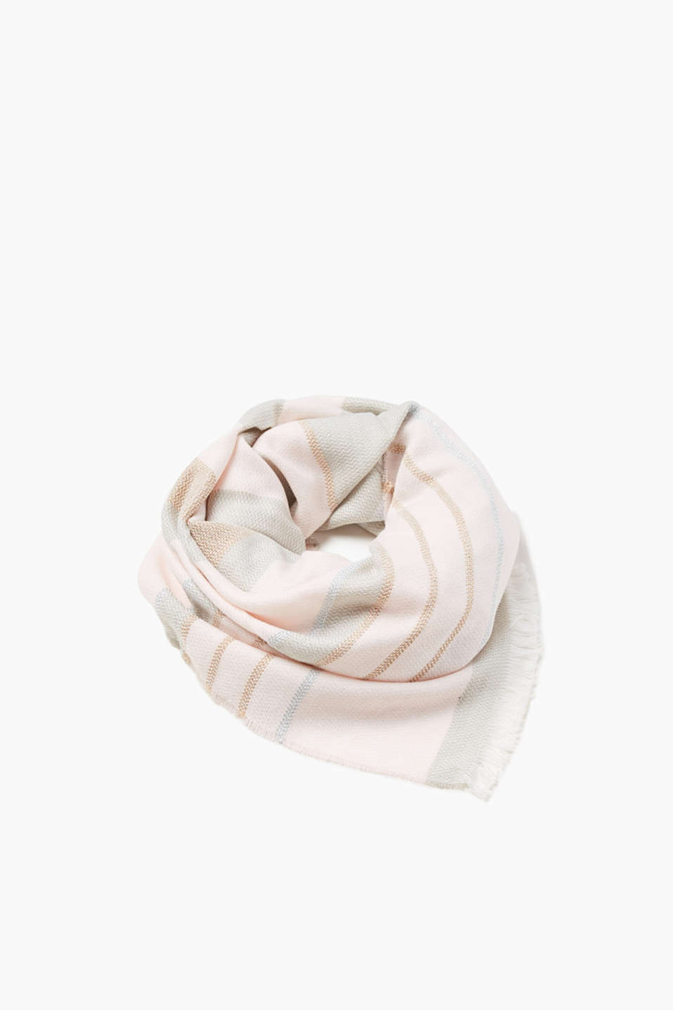 Autumn pastels! We love it! This woven scarf with block stripes and lurex threads is extremely eye-catching.