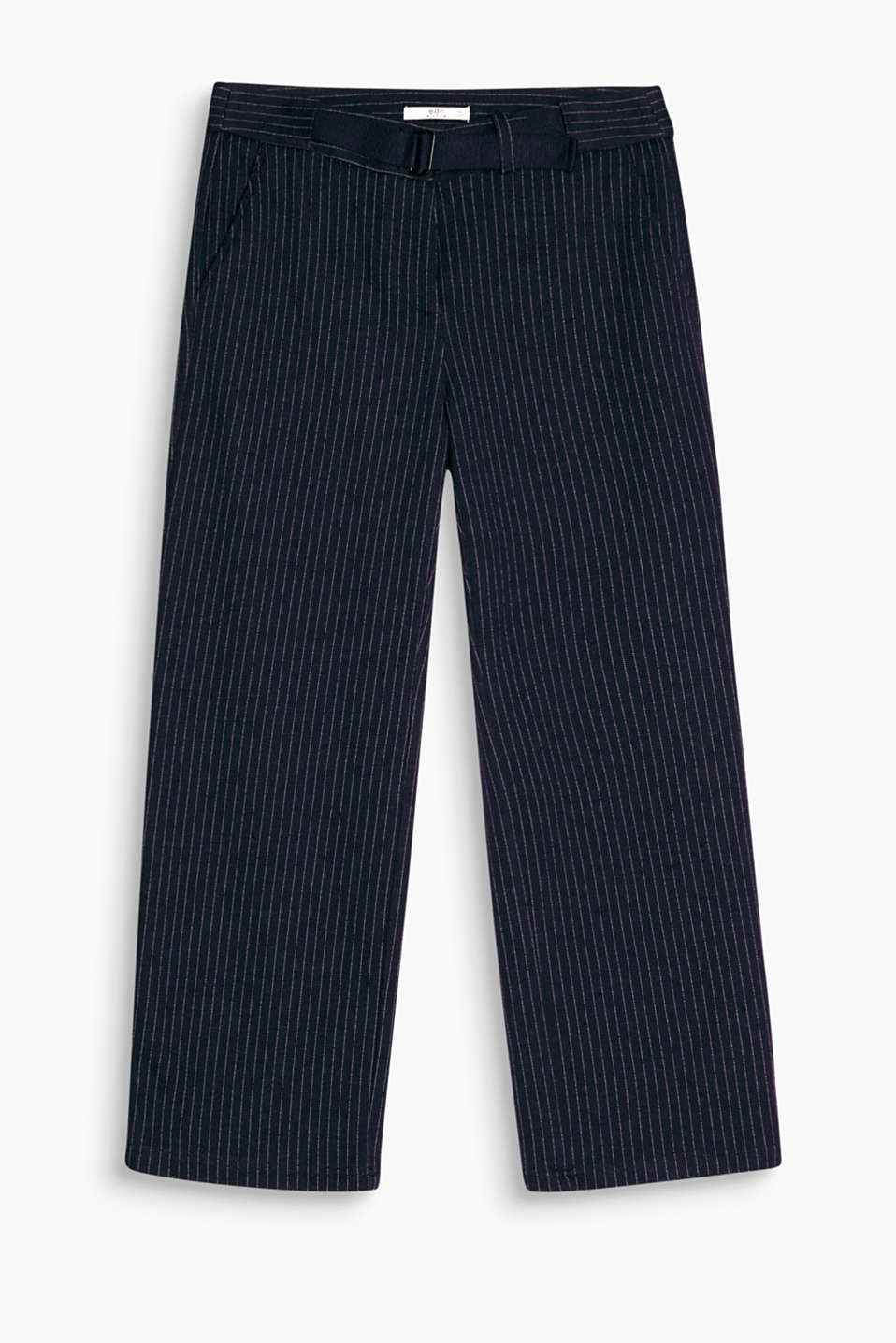 Cropped stretch jersey trousers with classic pinstripes in a sophisticated look yet still super comfortable