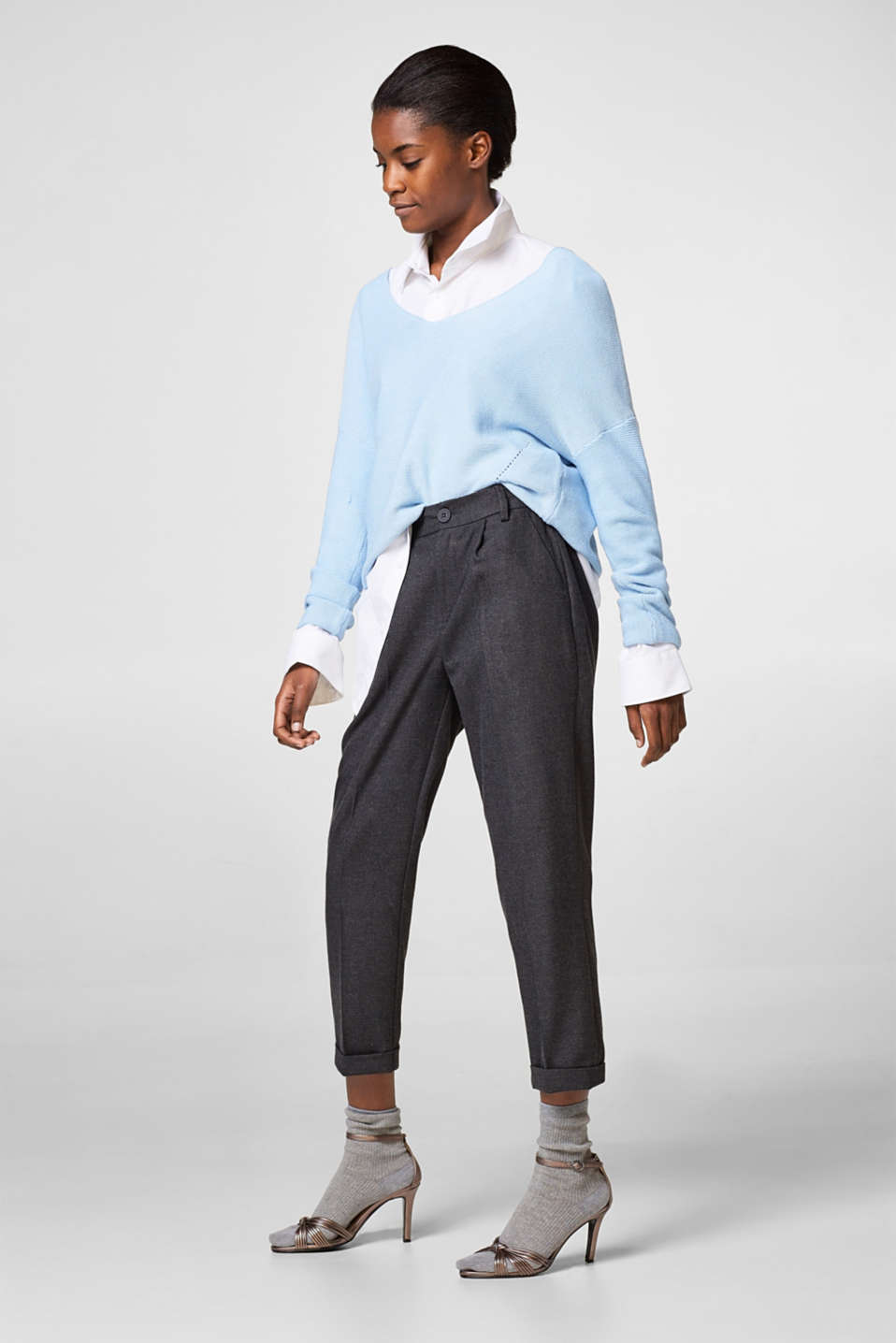 edc - Cropped flannel trousers with stretch