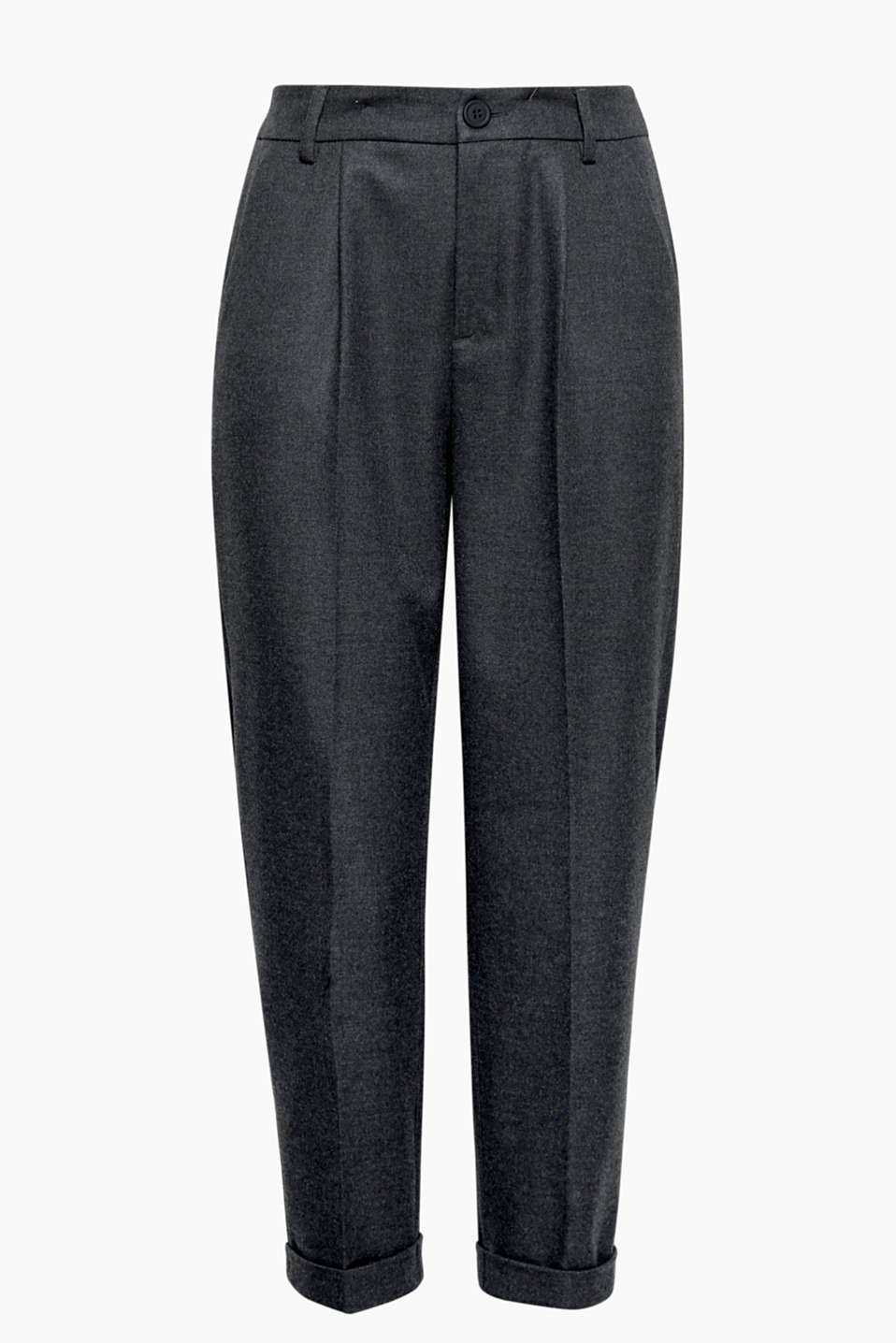 A partner in style for lots of looks: trendy cropped trousers in soft flannel with waist pleats and an elasticated waistband.
