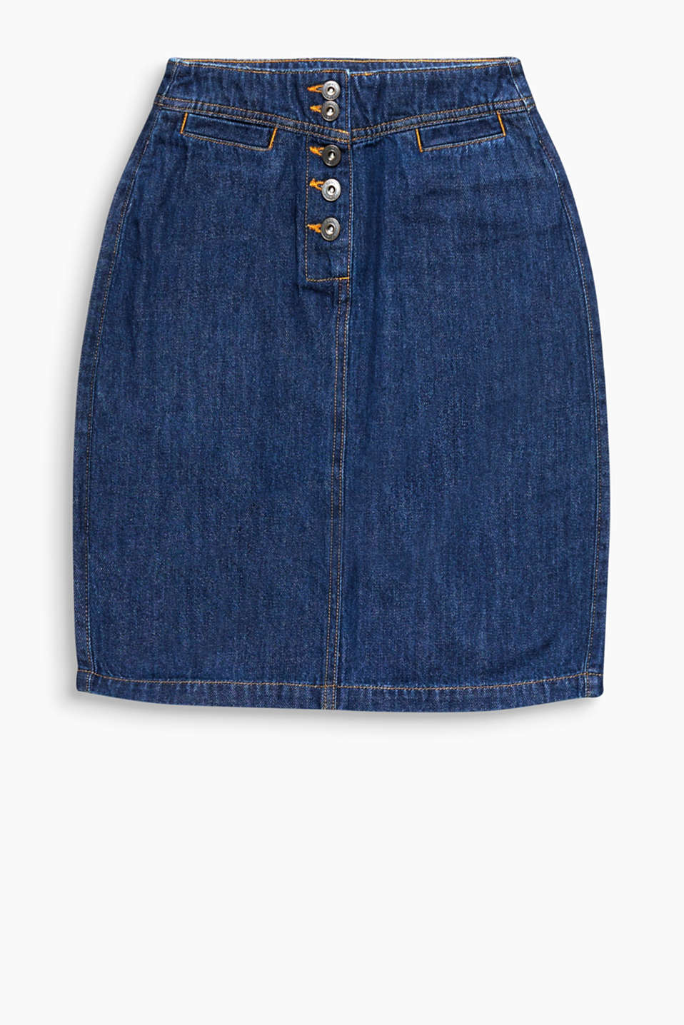 All-time fave: figure-hugging denim skirt with a button placket made of organic cotton