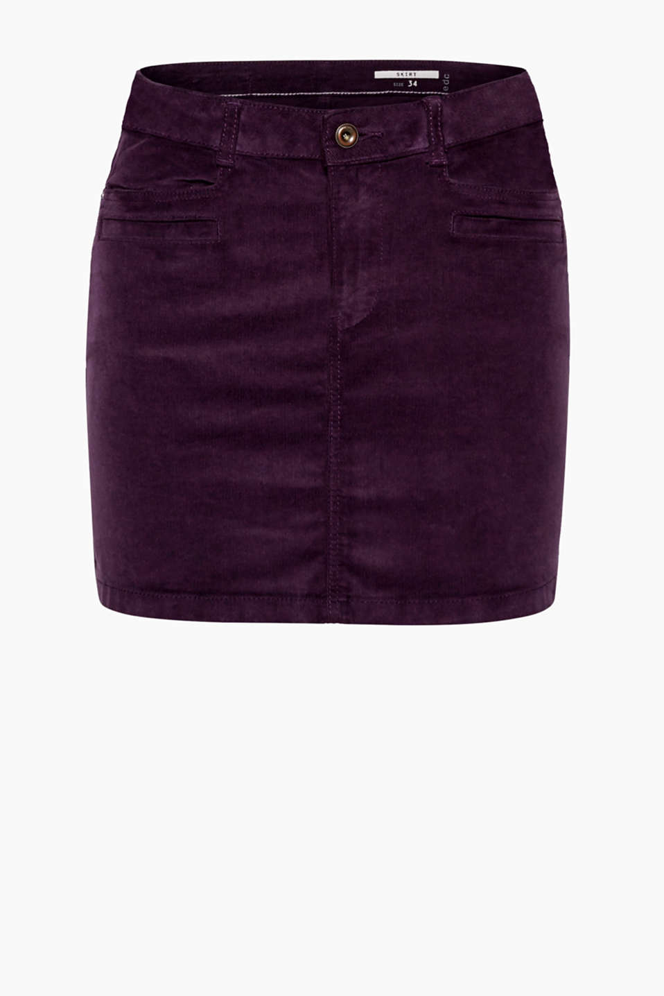 Supersoft and super comfortable: mini skirt in velvety cotton babycord with a high percentage of added stretch