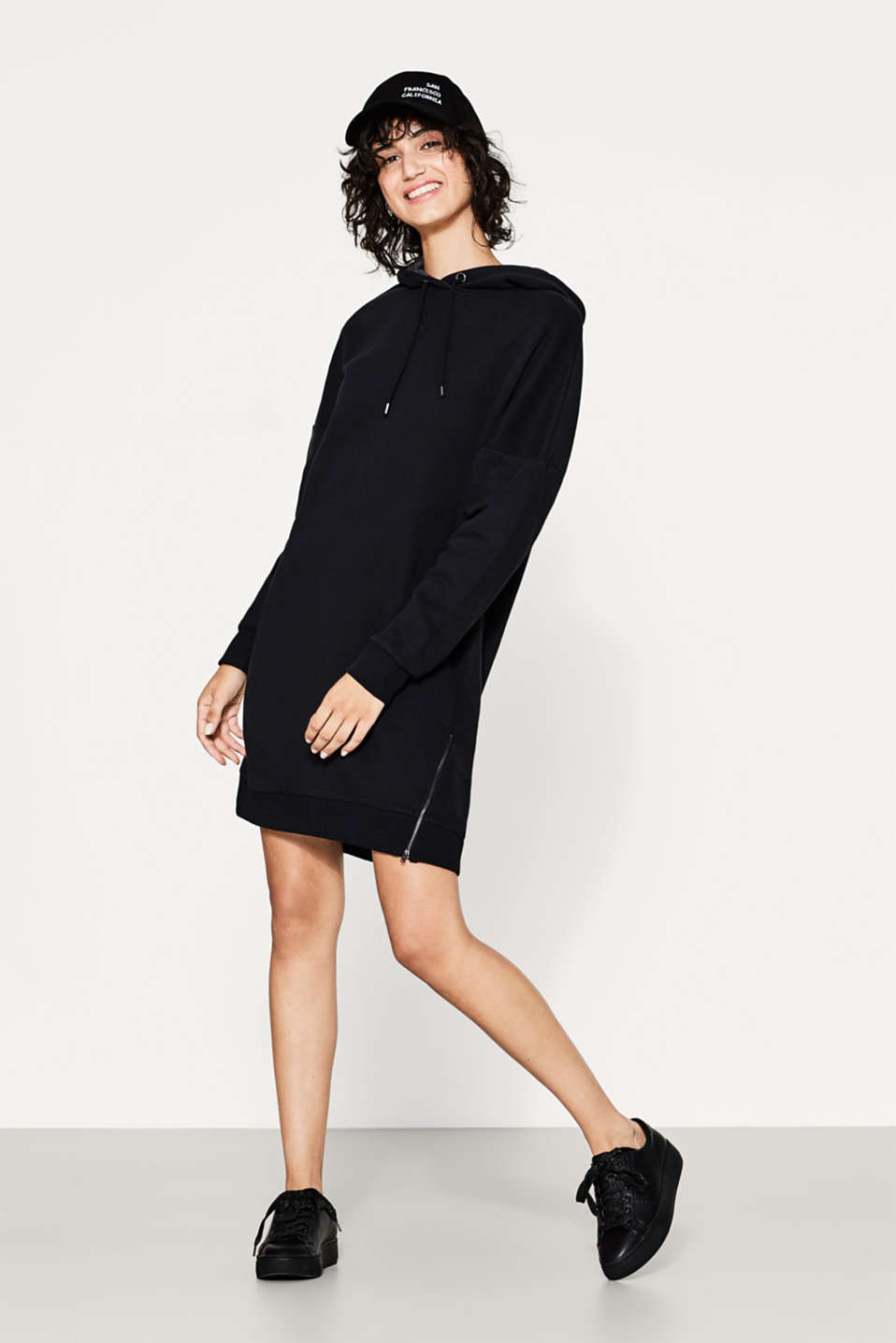 Cotton-blend zip-up hoodie dress