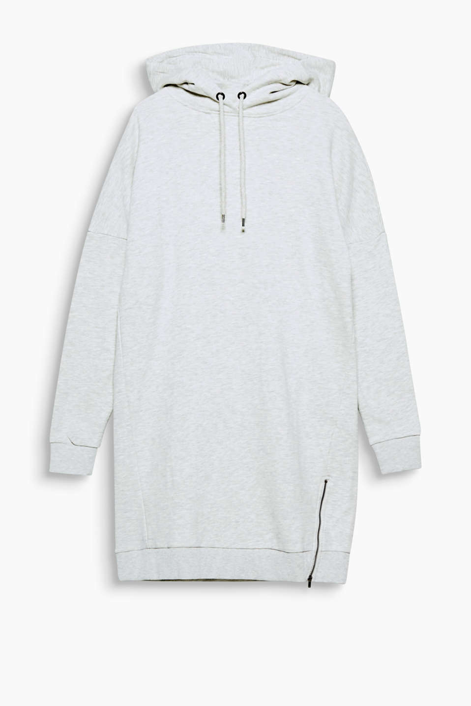 Super cool, super soft and super comfortable: grey melange hooded dress in a contemporary sportswear style