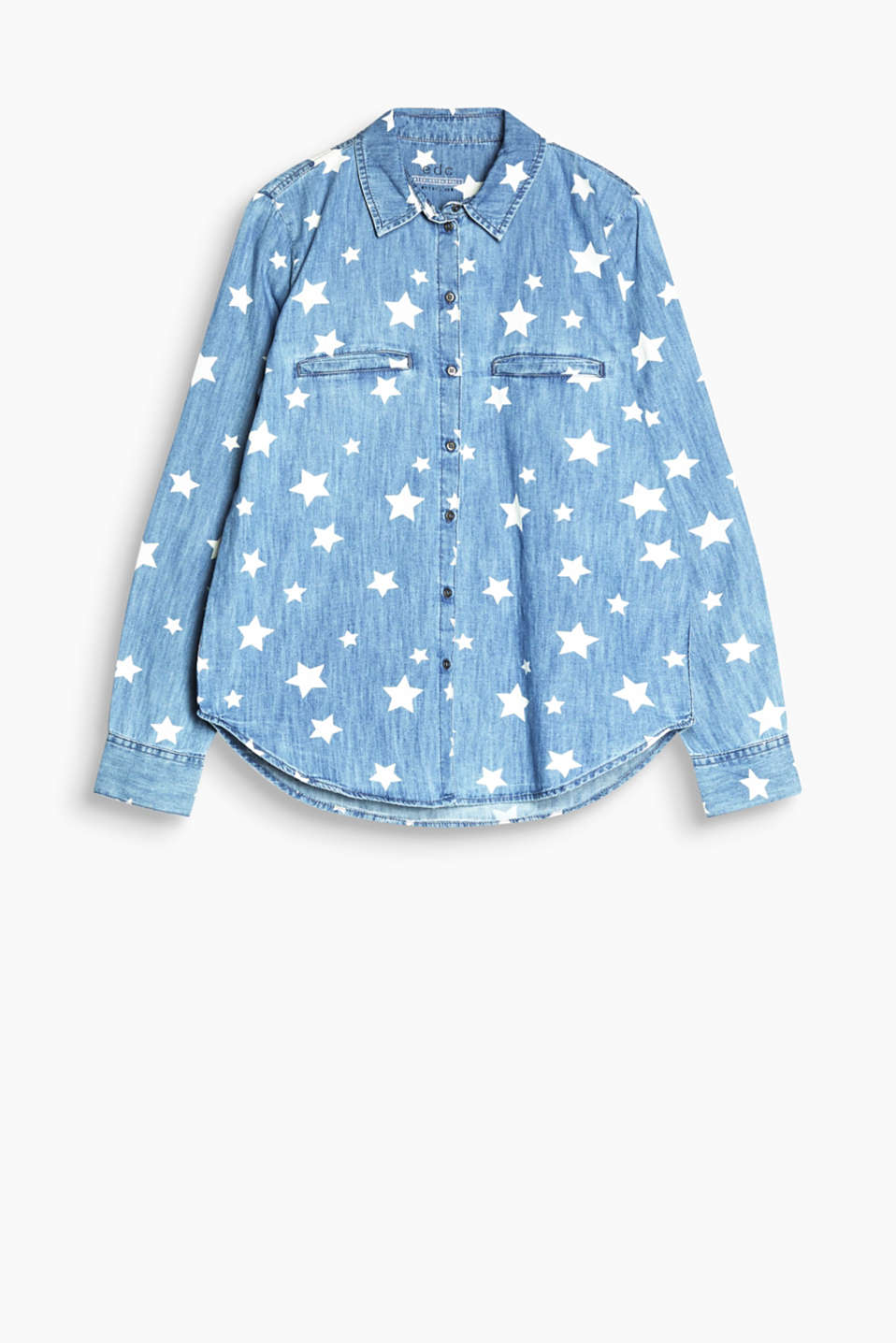 Pretty prints: shirt blouse made of soft cotton denim with a heart or star print.