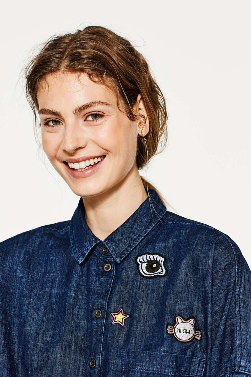 edc - Blusa squadrata in denim, cotone
