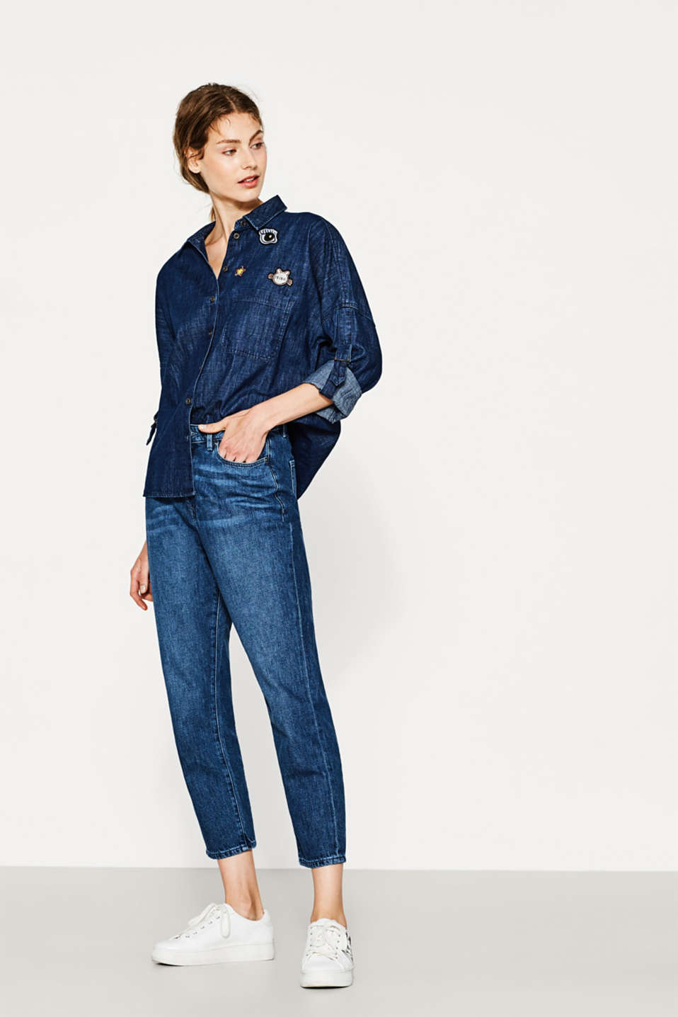 Blusa squadrata in denim, cotone