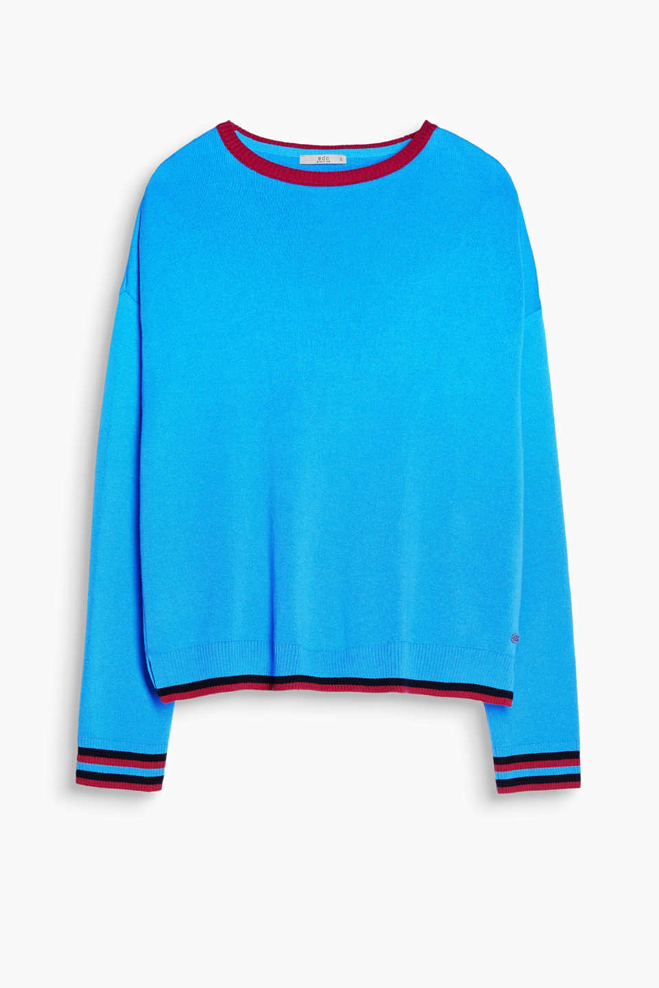 Modern details: cropped cotton jumper with ribbed edges in a contrasting colour
