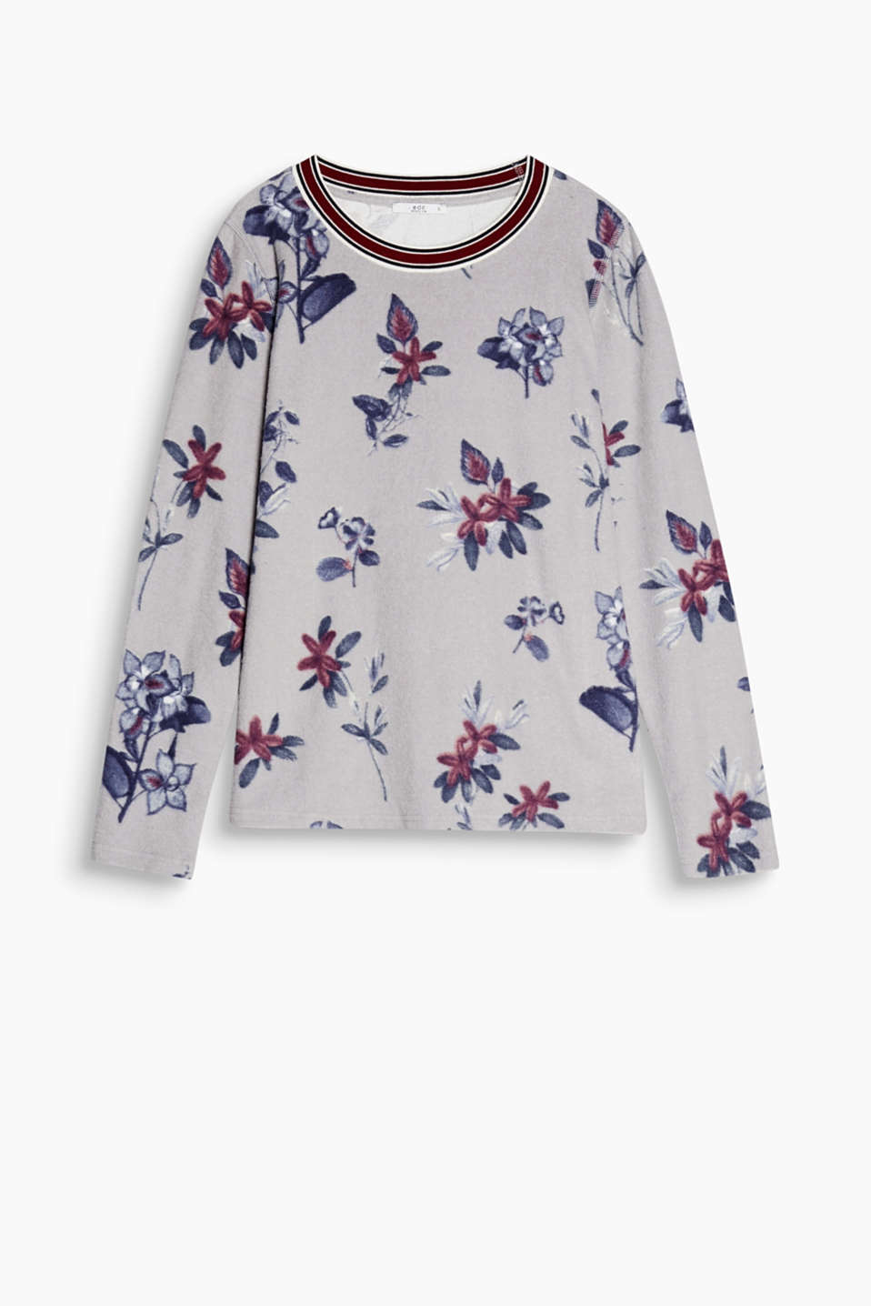 Fleece and flowers - an exciting combination! Cuddly long sleeve top with an all-over print and a sporty neckline