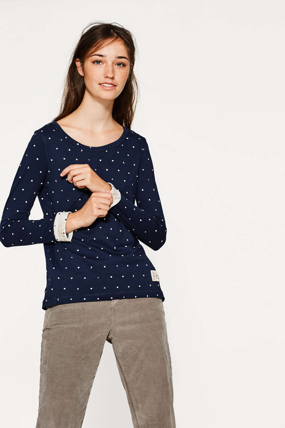 edc - Printed long sleeve in stretch cotton