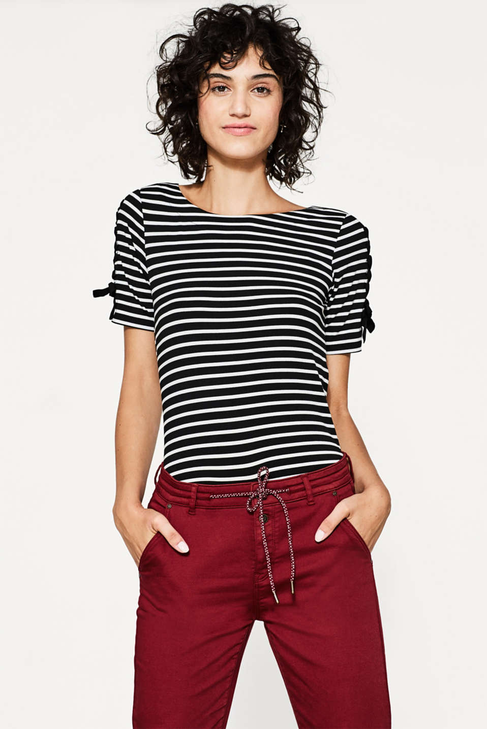 edc - Striped top with lace-up details