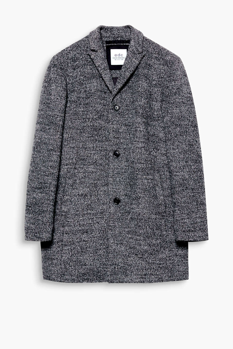 We love textured bouclé fabric! This coat can be worn with both casual and elegant styles