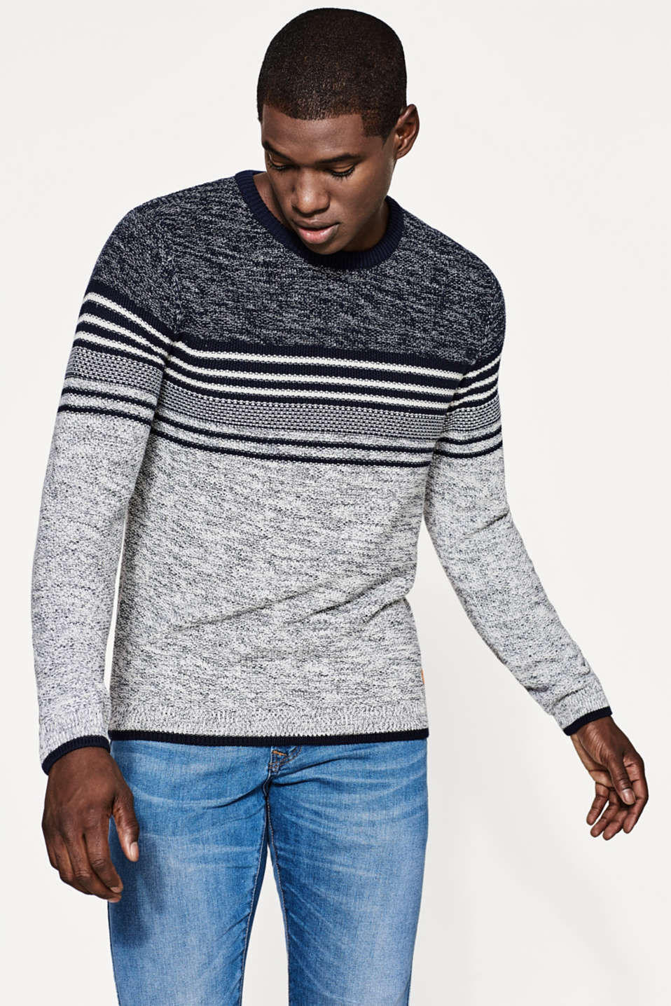 edc - Two-tone jumper in textured yarn