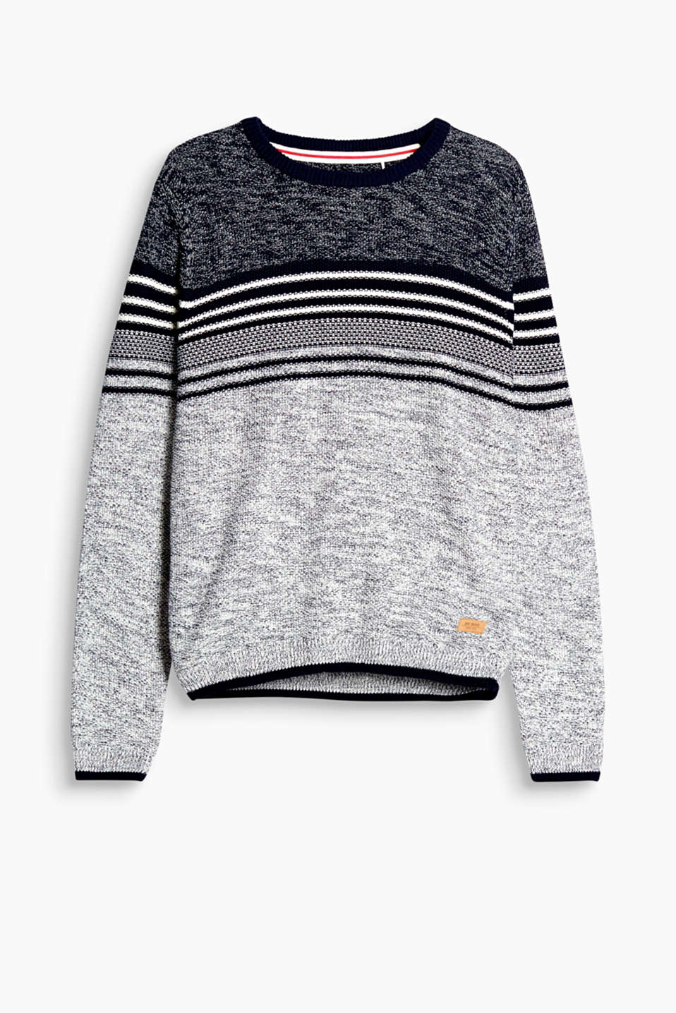 We love knitwear! The two-tone textured yarn and stripes make this sailor-style jumper extremely eye-catching!