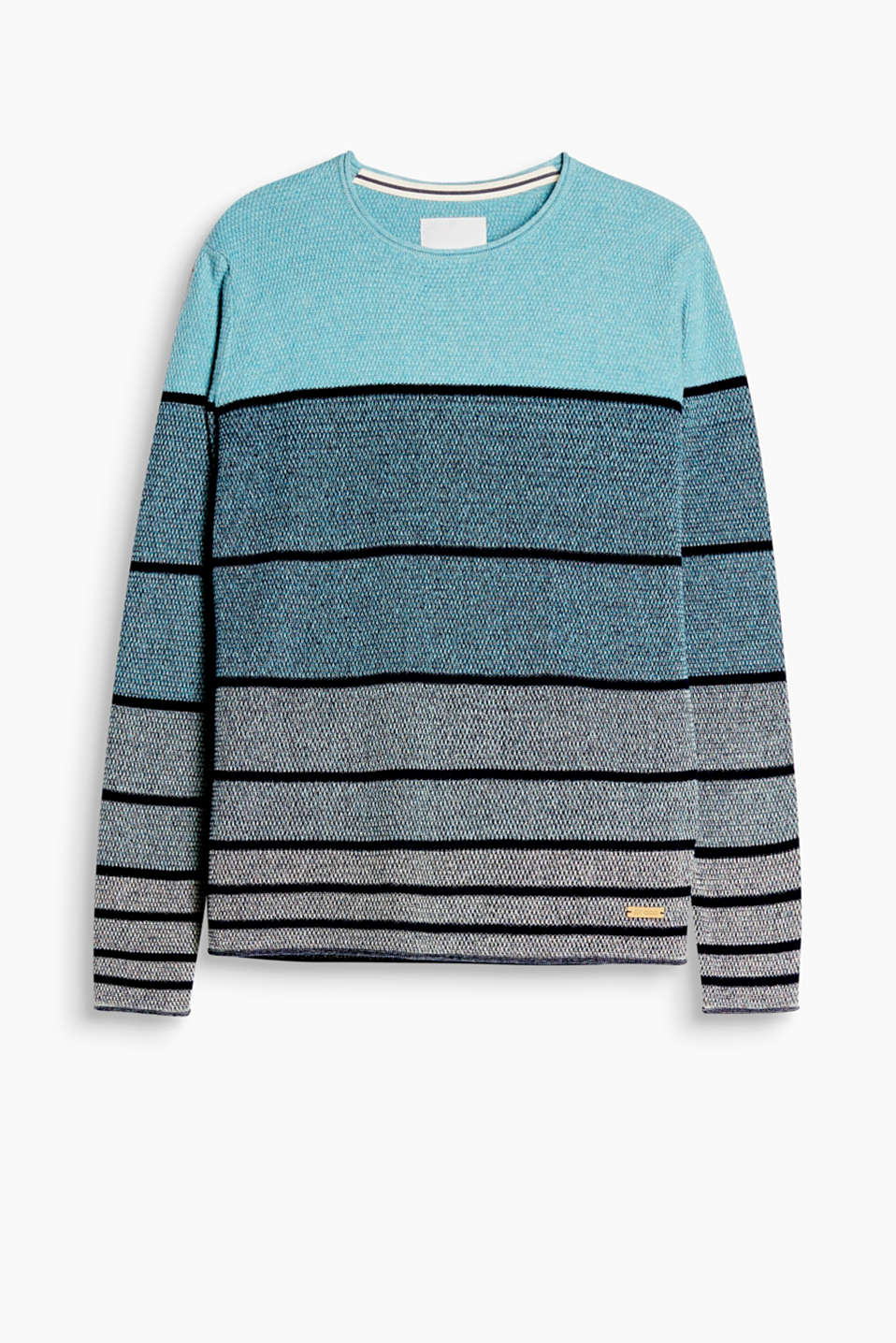 Jumper with block stripes and graduated colours in a high-quality textured knit, 100% cotton