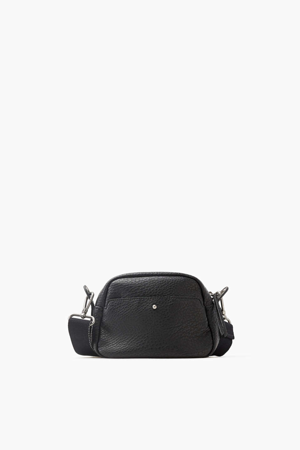 Functional and versatile: Small shoulder bag in coarse-grained faux leather with a woven shoulder strap
