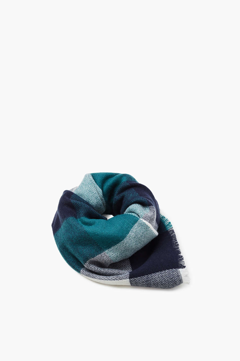 Esprit - Cosy checked scarf with fine fringing