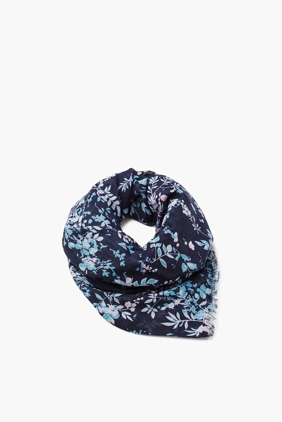 Esprit - Woven scarf with a floral pattern