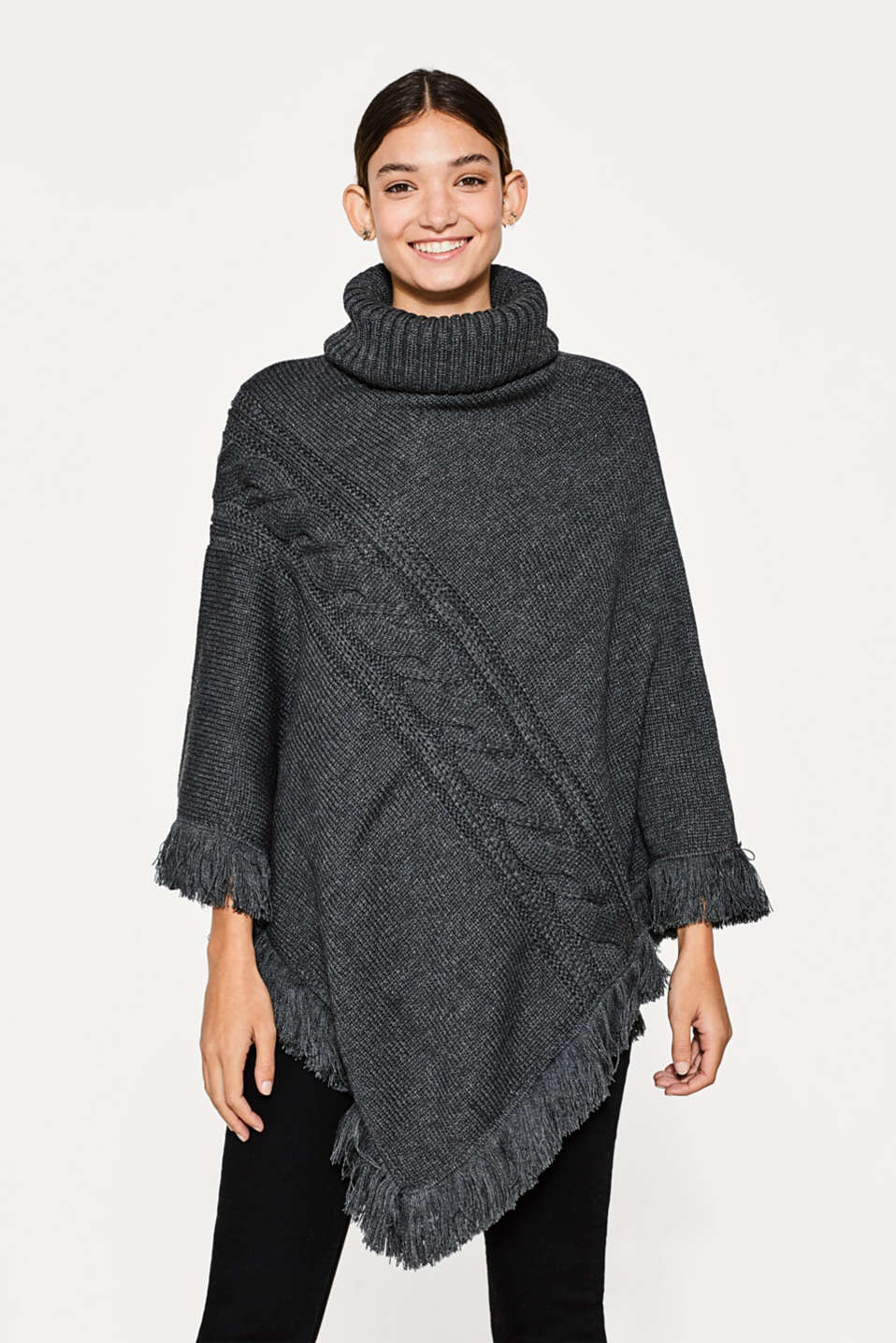 Esprit knitted polo neck poncho with fringing at our online shop this casual poncho impresses with its ribbed cable knit pattern and fine bankloansurffo Gallery