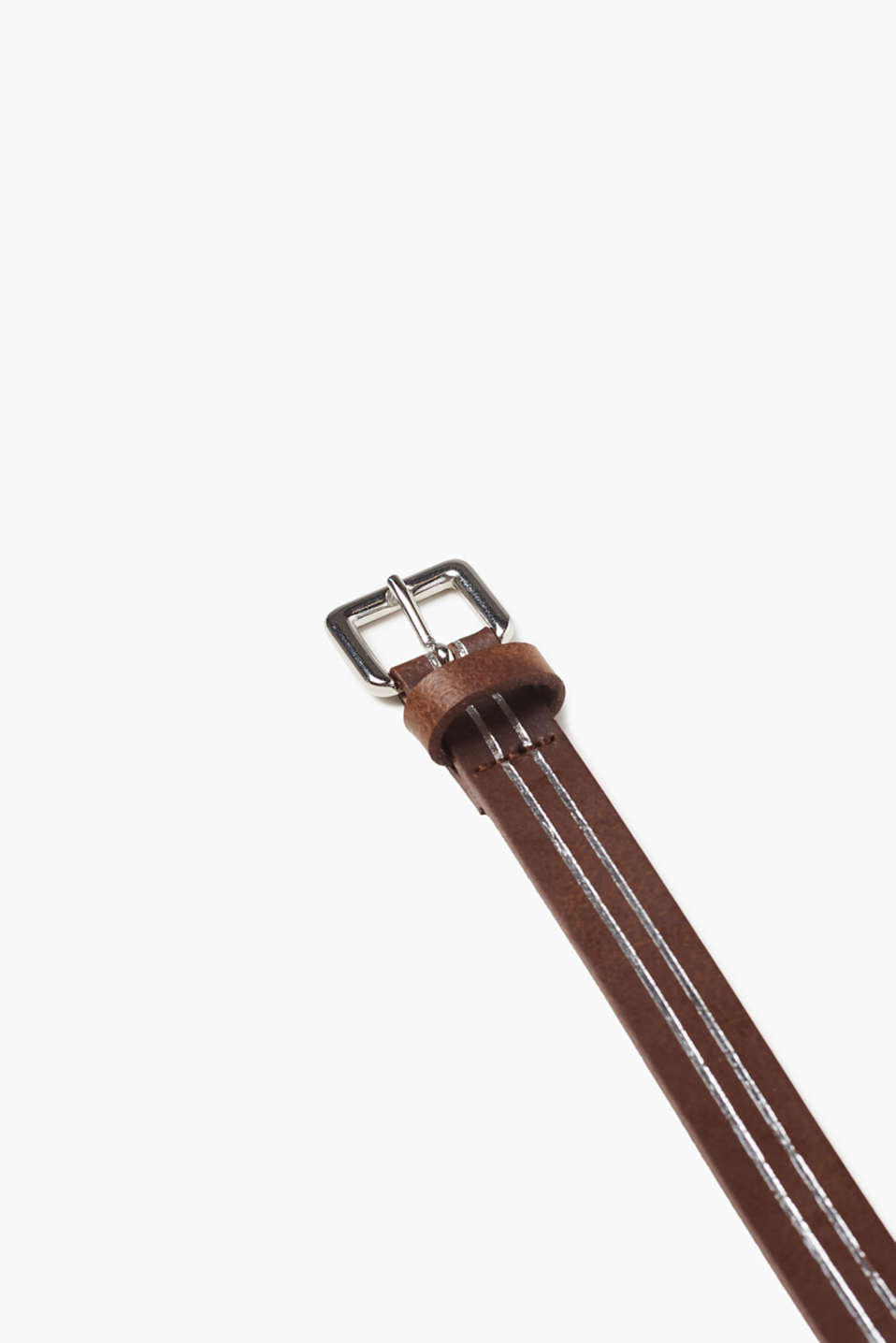 Narrow leather belt with metallic stripes