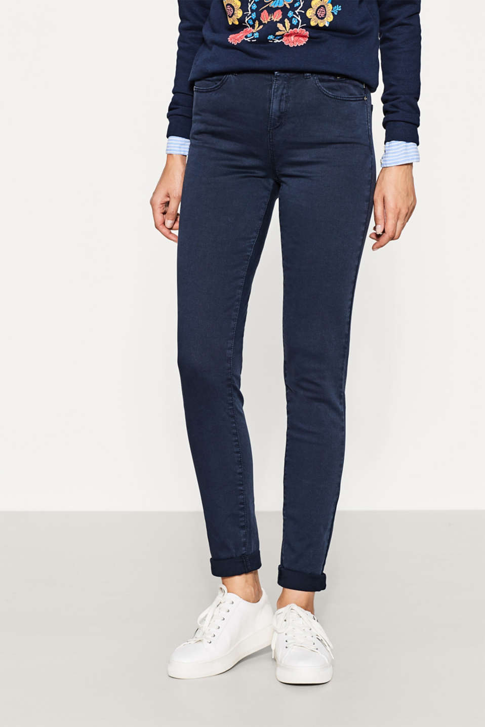 Esprit - High-waisted stretch trousers with zips