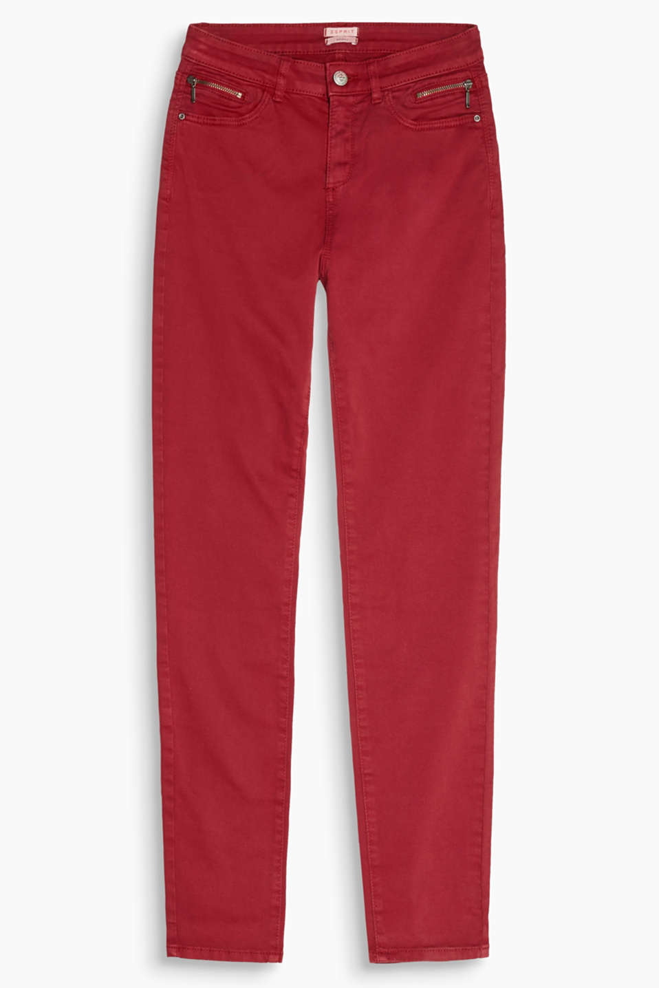 Decorative zips accentuate the stylish, high-waisted look: skin-tight trousers with a high-rise waist and elastane