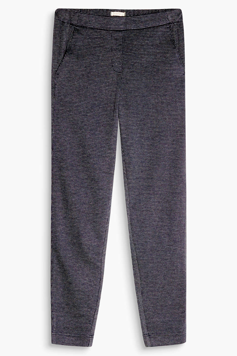 Chic trend look: ultra soft trousers with semi-elastic waist and smart houndstooth design in a stretch cotton blend