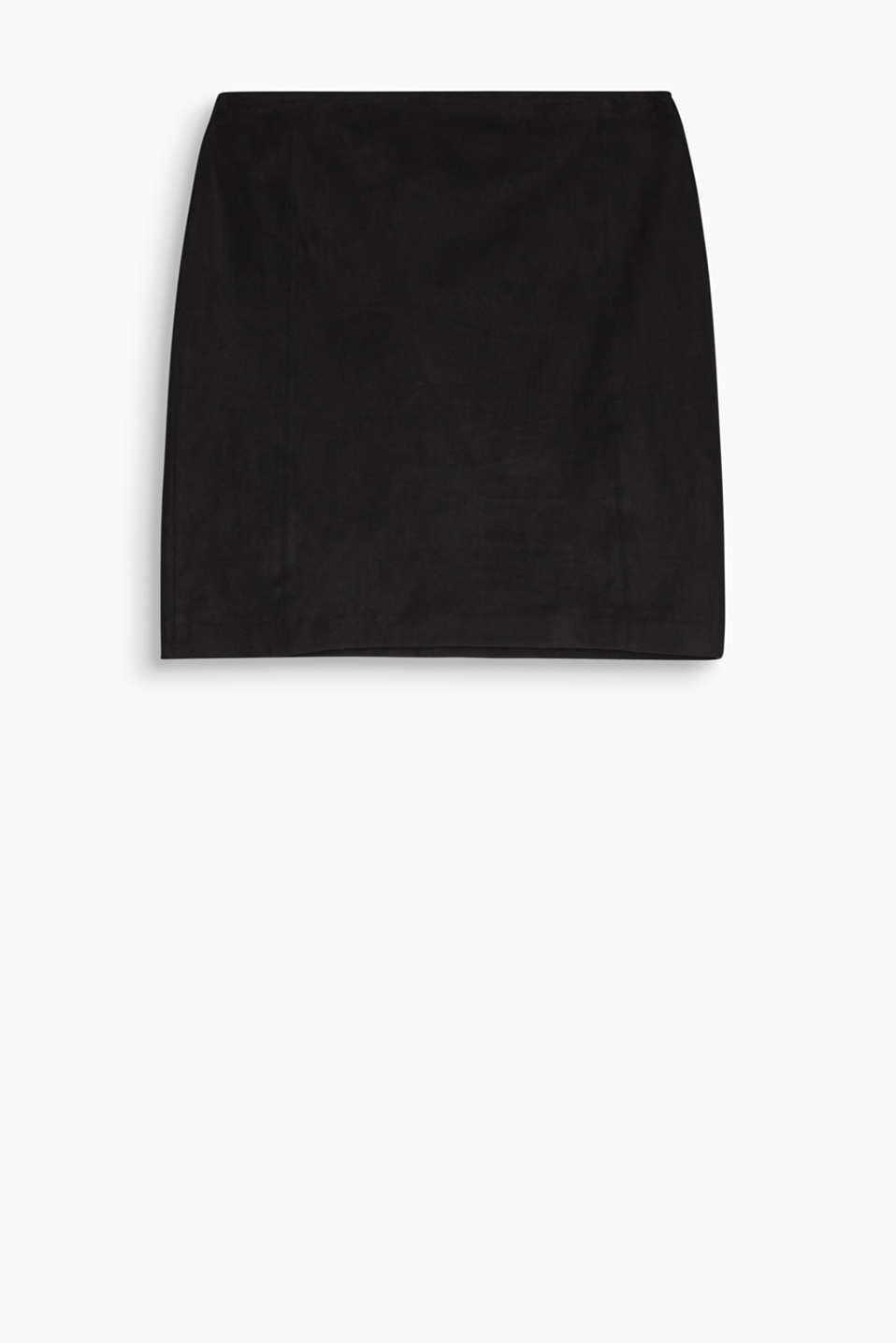 Looks like suede yet is even softer and ultra easy-care: stylish mini skirt with added stretch for comfort