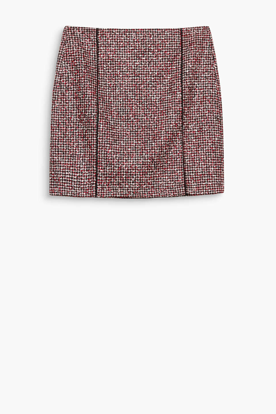 Multi-mini: this colourful tweed skirt with a stylish houndstooth pattern is great for wearing to work, the city or to parties!