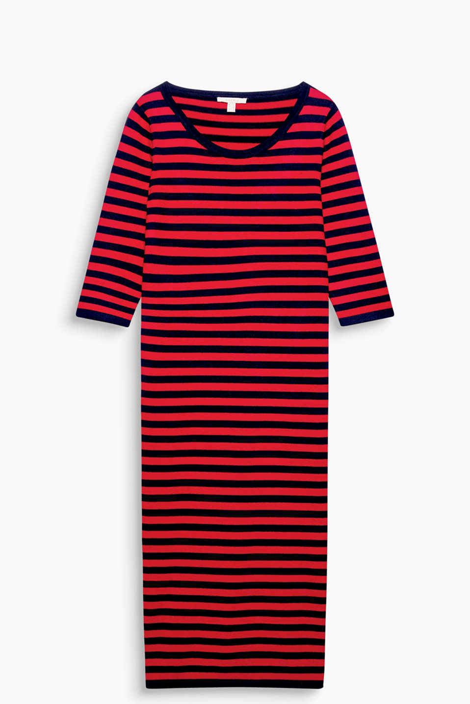 Compact knit, modern chic: figure-enhancing dress with new block stripes and a contemporary midi length
