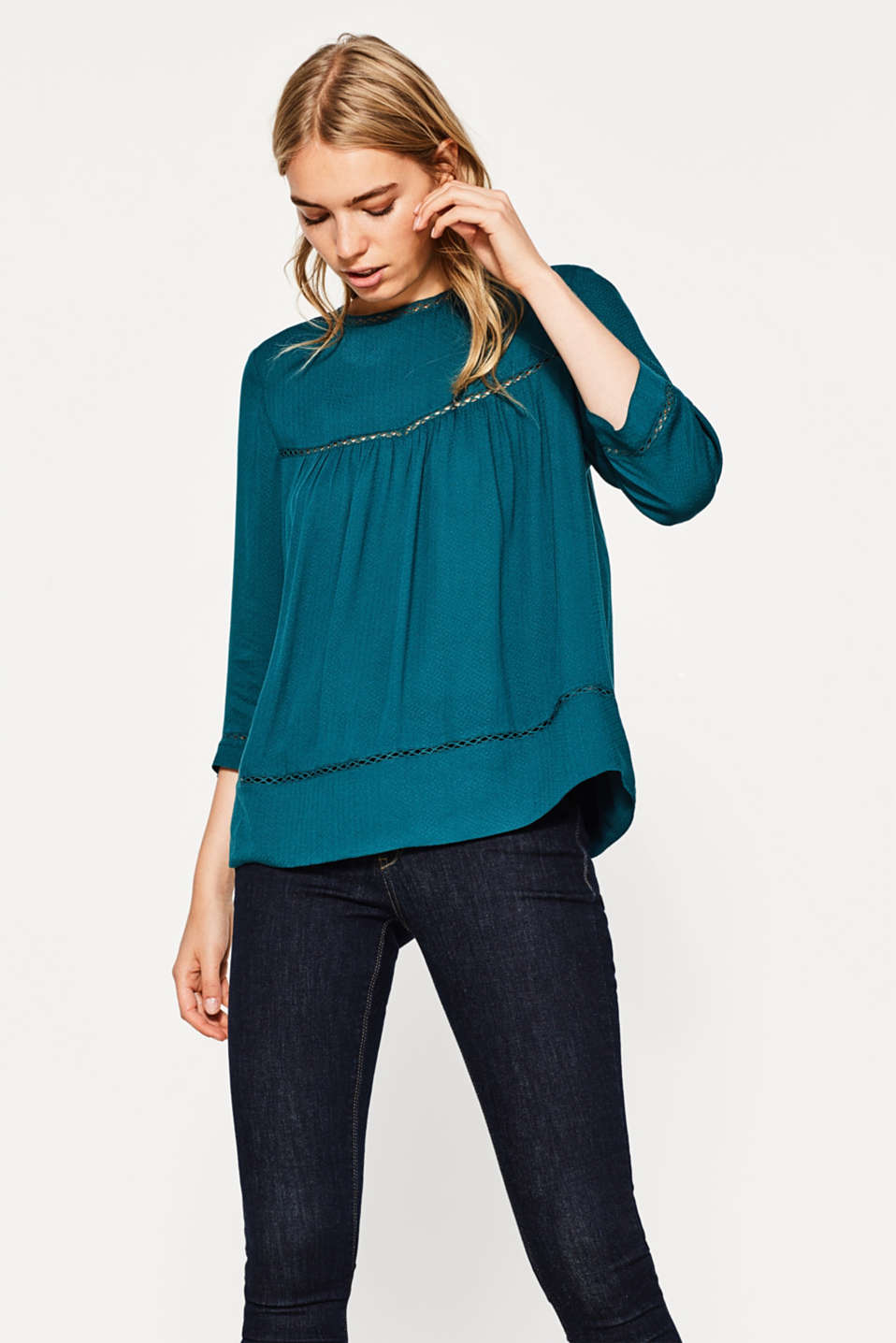 Esprit - Flowing tunic with mesh trims