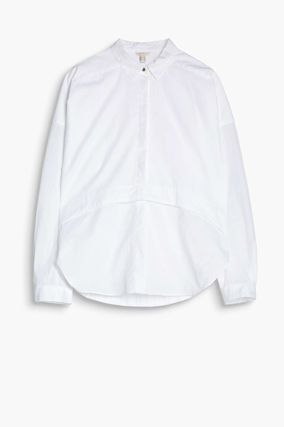 Always works with jeans: oversized blouse in cotton poplin with a rounded yoke
