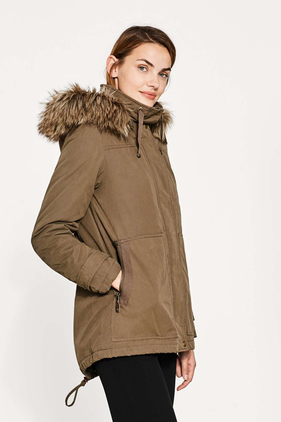 Esprit - Parka with faux fur lining and hood