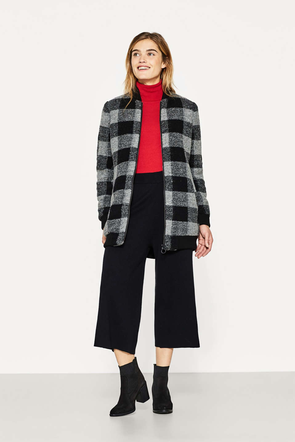 Long bomber jacket with woolly checks