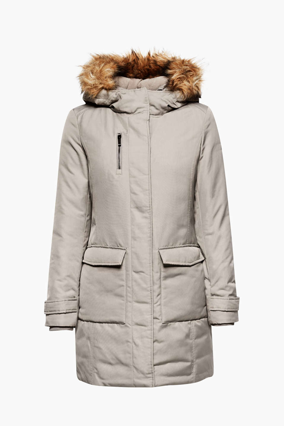 This fitted coat with high-quality padding and an elegant faux fur hood is sporty, timeless and winter-ready.
