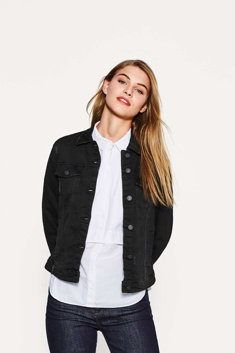 Esprit - Black Denim Jacke mit Stretch