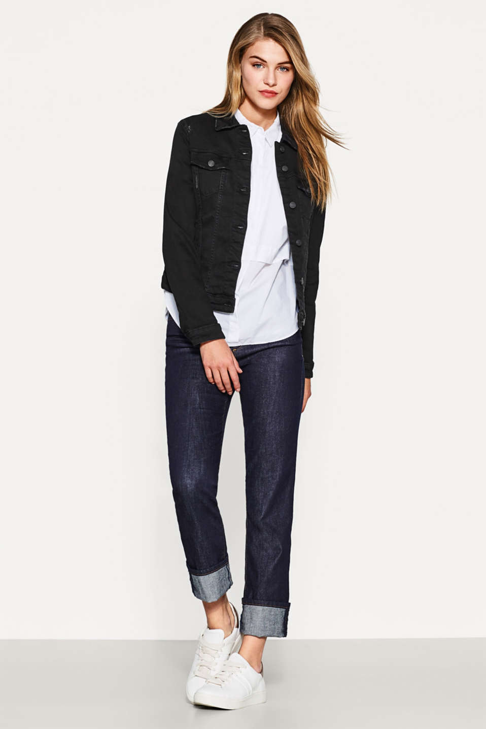 Black Denim Jacke mit Stretch
