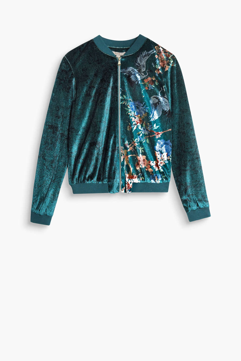 Far Eastern flair! The shimmering velvet and floral print make this bomber jacket extremely eye-catching.