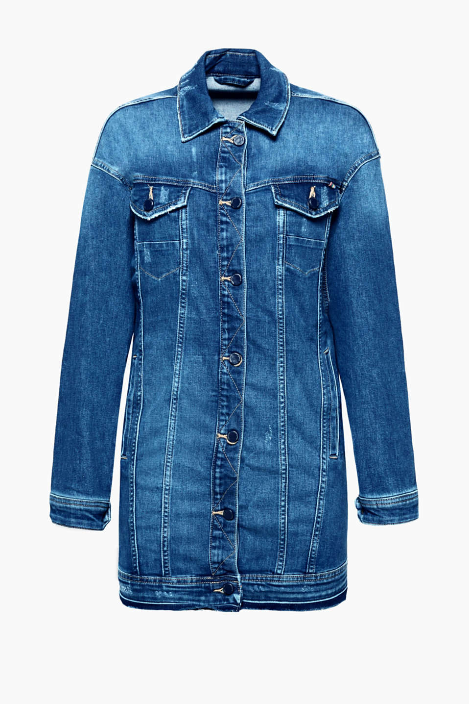 Feel good, look good, do good - Die lange Form macht diese Denim-Jacke aus recyceltem Material-Mix zum Must-Have!
