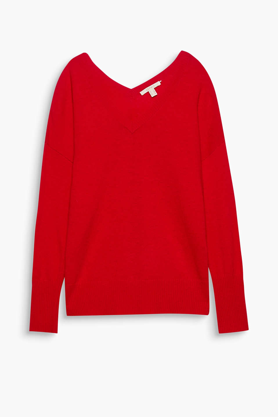 Twice as nice: this casual jumper looks ultra-modern with its two stylish v-necklines