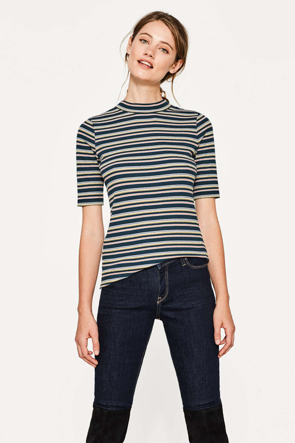 Esprit - Ribbed top with sparkly stripes and stretch